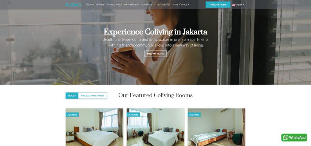 flokq website for monthly rent apartment in jakarta