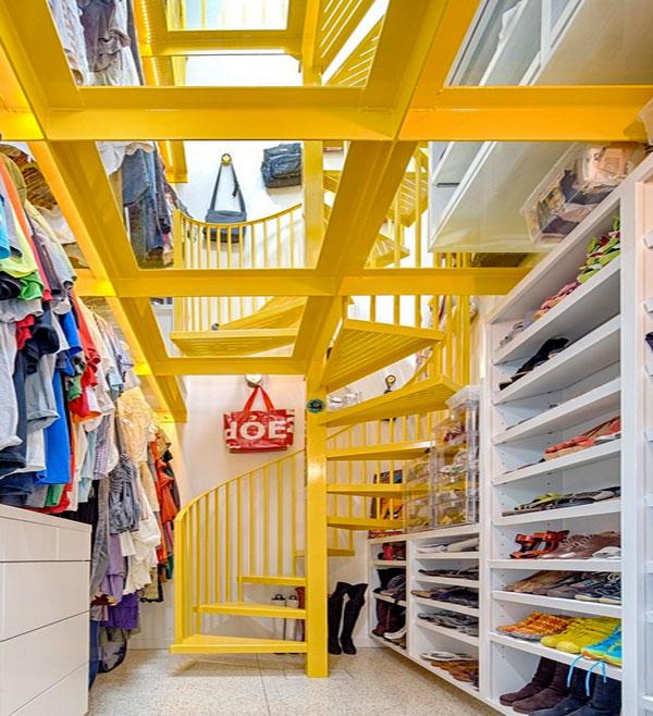 walk in closet yellow accent