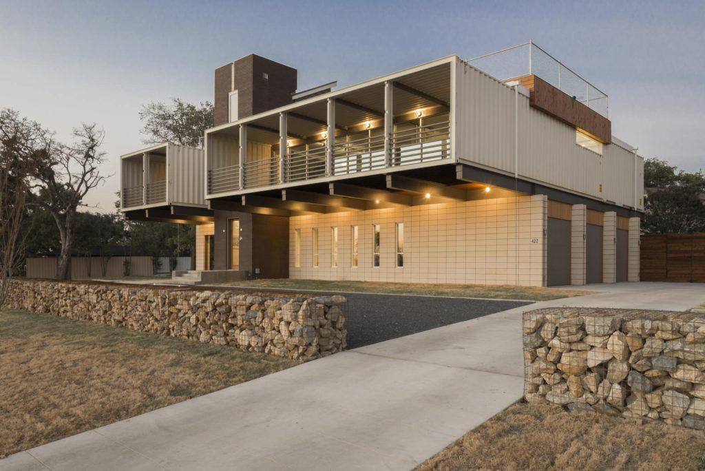 rumah kontainer: tampak perspektif PV14 House
