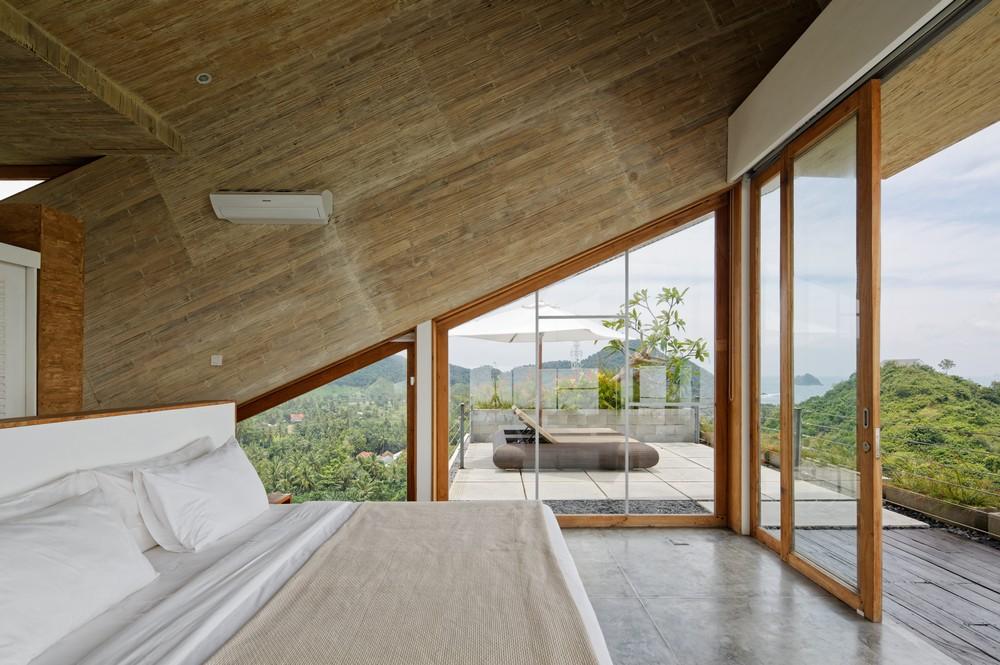 rumah kontainer: interior kamar tidur Clay House