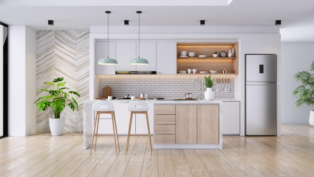 inspirasi dapur minimalis dengan warna pop