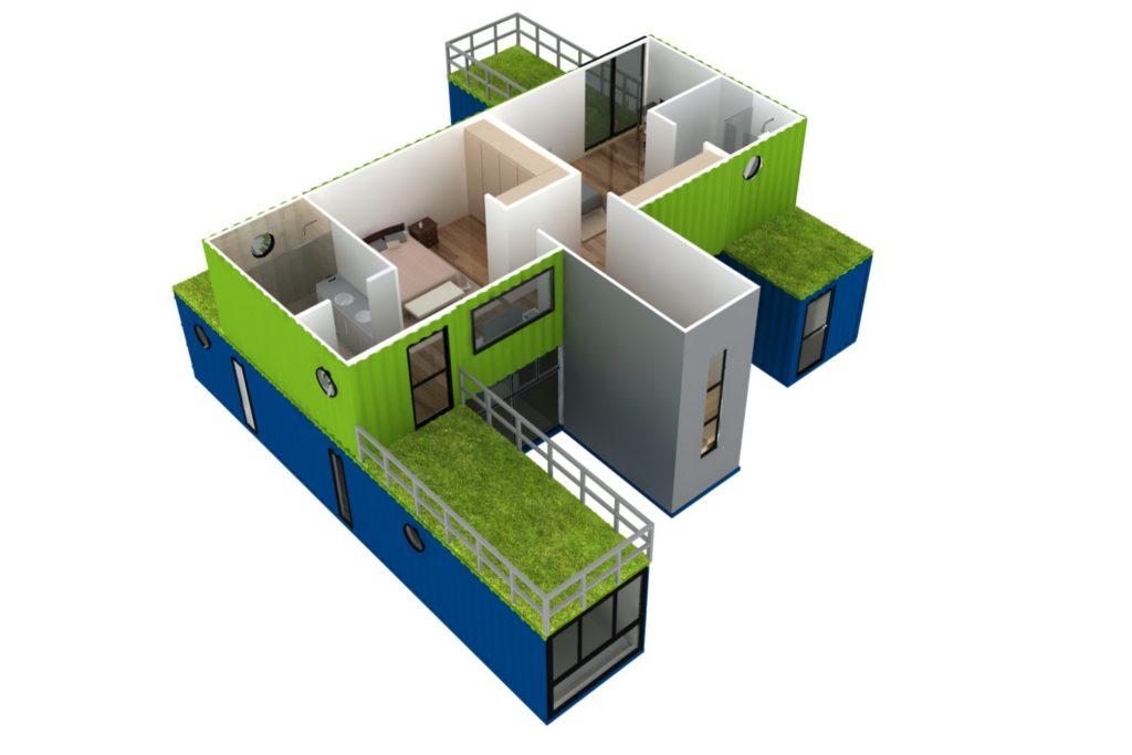 rumah kontainer: desain layout 3d Casa Container Granja Viana
