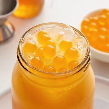 Mango smoothies with popping boba
