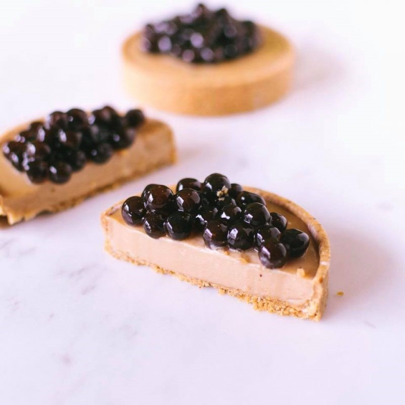 cheesecake with popping boba
