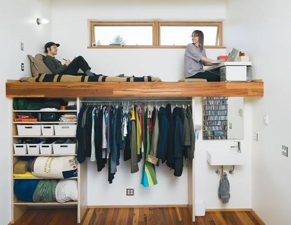 walk-in closet under loft bed