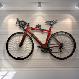 Horizontal bike hanger is a cool option to have decorative storage