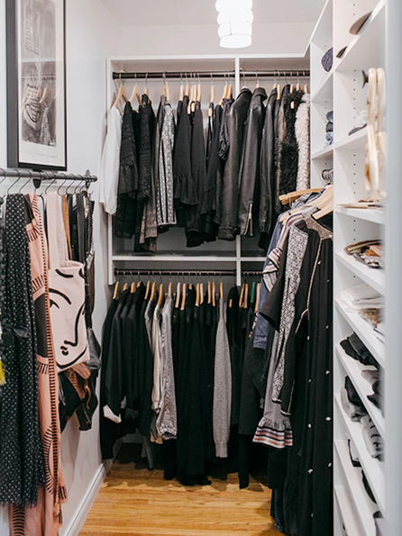 double hanging clothes in walk-in closet