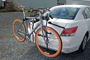 Rear mount bike rack to the car is very practical to bring your bike on a short trip