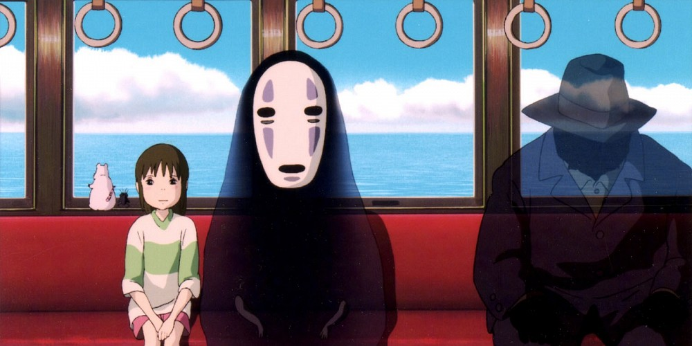 Chihiro and No Face on a train, spirited away