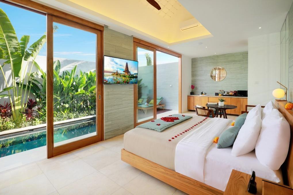 Kamar tidur dengan pemandangan di Vila Astera seminyak