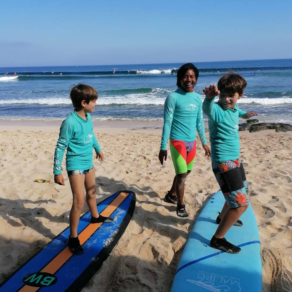 surf lesson being held at malibu surf school