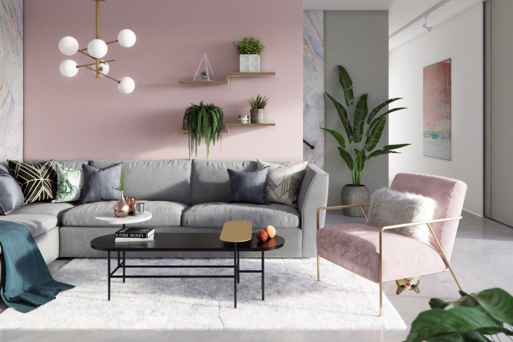 a combination of the color pink and grey