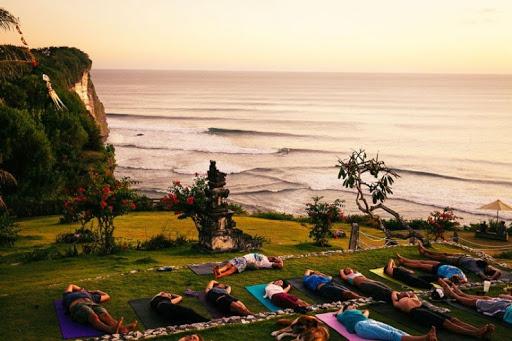 doing yoga in bali with amazing scenery