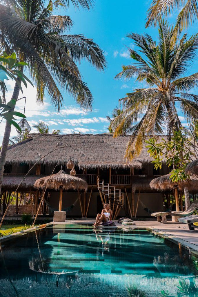 Gili air pool and bamboo house
