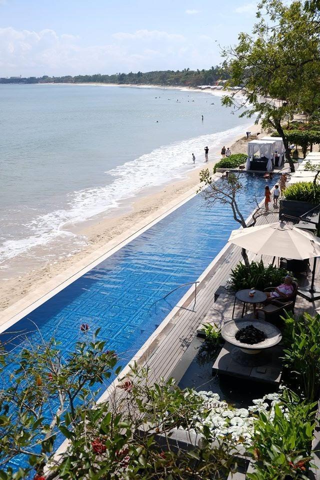 Sundara beachfront pool and outdoor seating
